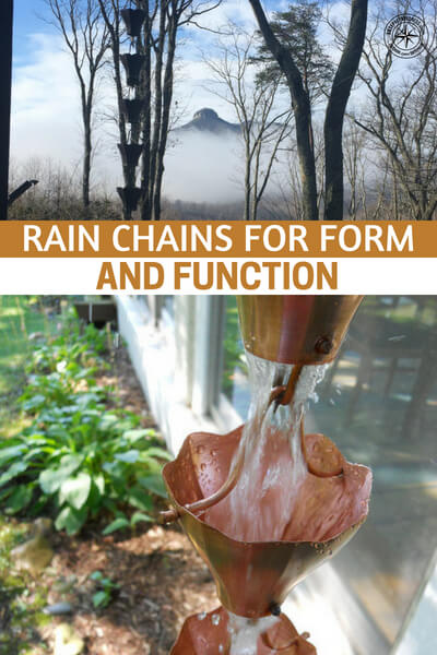 We have rain chains for four of our rain gutter downspouts, and we love them! A rain chain is a simple way to add visual texture and intrigue to your home with something that is also functional and soothing. If you love the sound of rain, imagine the tinkling waterfall cascade that a rain chain can create right by your porch or near your garden.