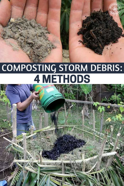 Composting Storm Debris: 4 Methods - This is a great article about turning that storm debris into gold. Yes. Gold. Compost is gold. There is nothing like organic compost that you can amend into your growing soil and produce food and seeds from.