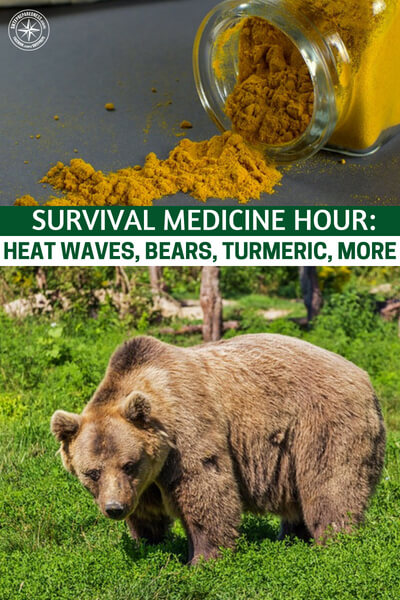 Survival Medicine Hour: Heat Waves, Bears, Turmeric, More - The topics are varied but will offer great insight on several issues. Heat waves is one topic that resonates this time of year. Bears and wildlife encounters is another. Finally they are discussing turmeric as well. This root has some very impressive properties that are worth discussing.