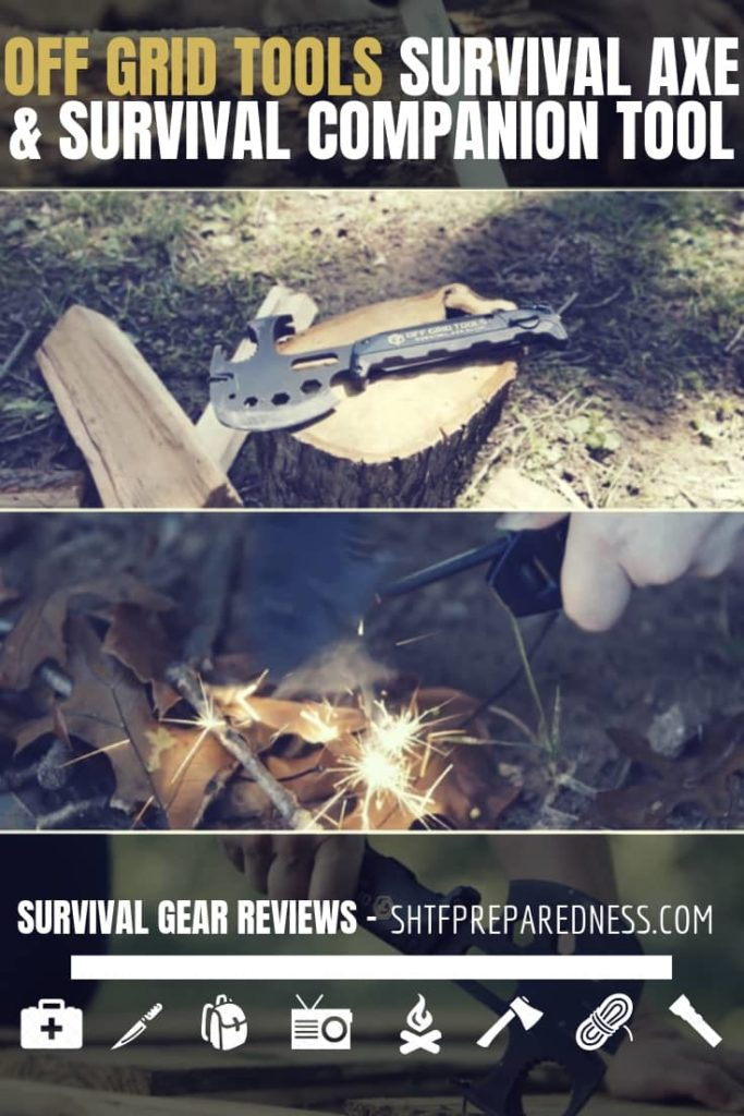 Off Grid Tools Survival Axe Review - The Off Grid Tools Survival Axe is a full tang hatchet with a solid handle that offers an assortment of very useful multi-tool options.