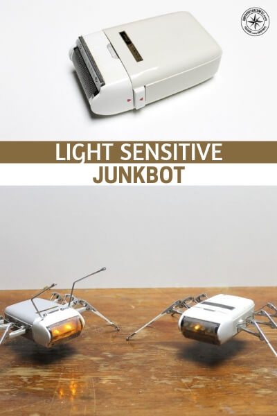 Light Sensitive Junkbot - From a distance robotics can be very unnerving. It can be intimidating to the average person. That's good! We want to be in the position of learning new things. That is the only way we move forward in this world.