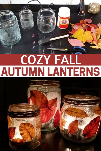 Cozy Fall/Autumn Lanterns - This is a great little DIY for creating some cozy fall lanterns. There is nothing like those autumn nights. The humidity is kept at bay and you are going to sit out on your porch with these lanterns going. It can be very magical. Take advantage of this little project and enjoy the season.