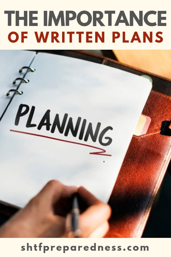 The Importance of Written Plans - The emergency binder is a crucial part of full scale preparedness. Don't skimp on this. It doesn't take much money but it takes thought and that is important. Sit down and plan it all out. Also, explain it to your family.