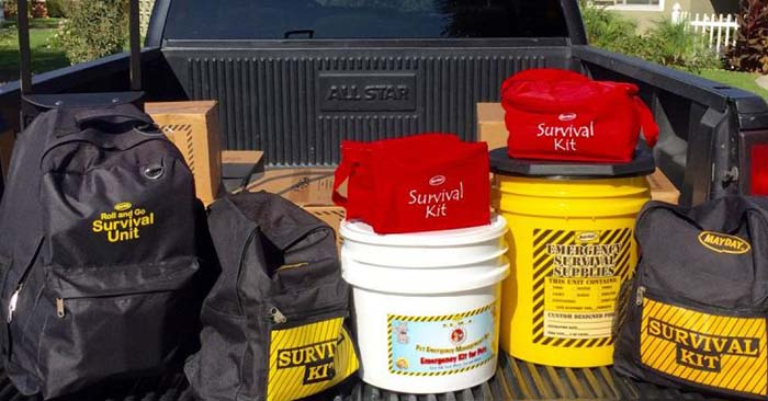 Emergency preparedness kits in the back of a truck