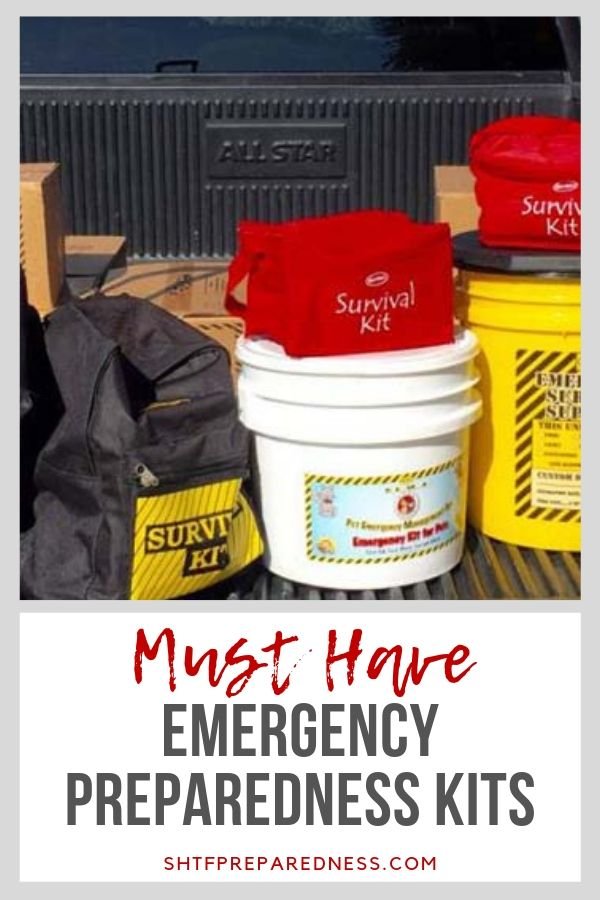 If you want to be ready for disasters, take a look at these must have emergency preparedness kits #shtf #shtfprep #emergency #preparednesskits #emergecypreparedness #disaster