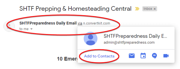 Add sender to your Gmail contacts to whitelist