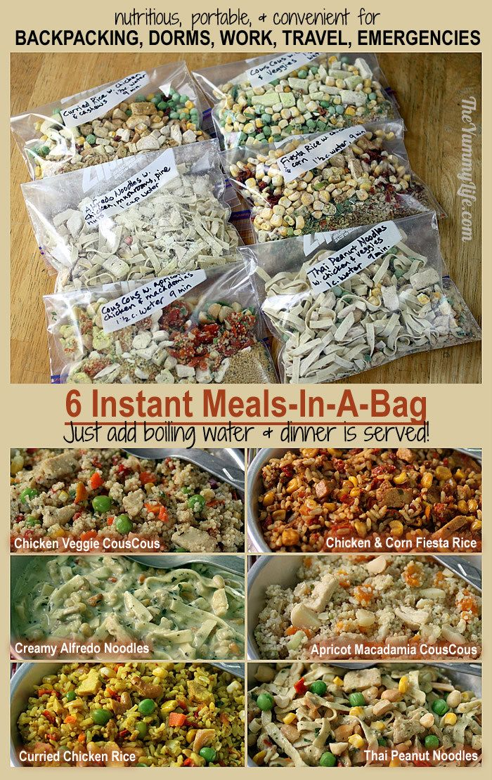 6 Instant Meals-On-The-Go - Just Add Boiling Water