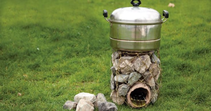 Stove Made from Wire Hangers for Nomads