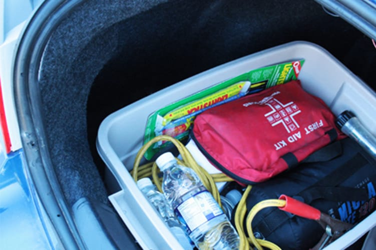 Emergency car survival kit in the trunk