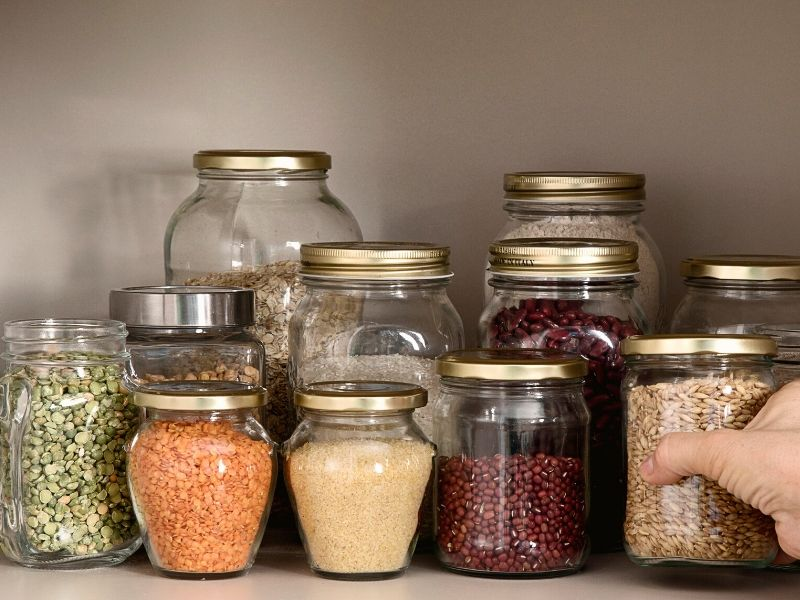 Glass jars filled with dry goods