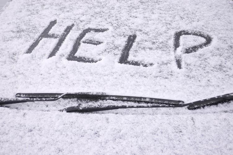 help written in snow on car windshield