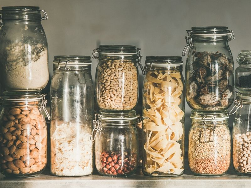 Dry food stored in glass jars for long term needs