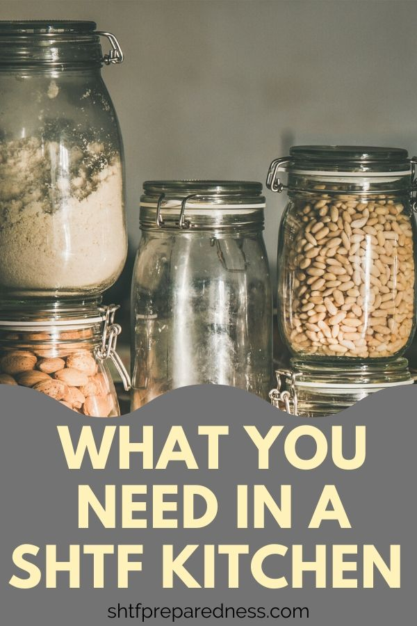Wonder what you need in your SHTF kitchen? Here are the basics: food, water, appliances accessories and more. Find out details here. #shtf #kitchen #survival #preparedness