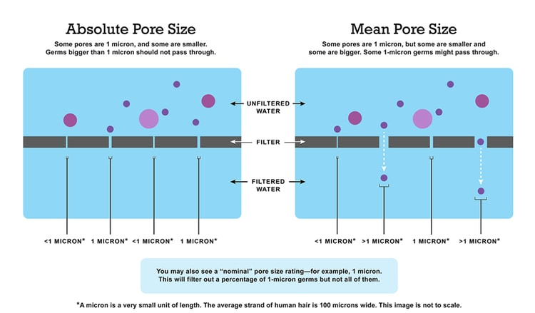 illustration of water filter absolute pore size vs size of contaminants in water