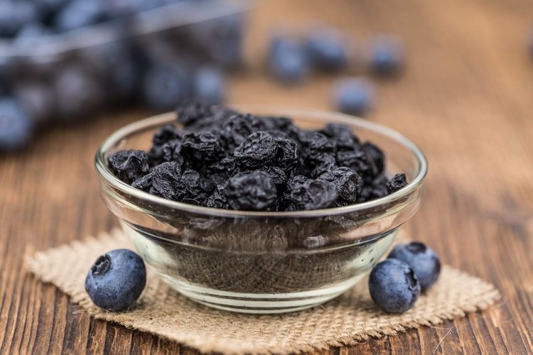 bowl of dehydrated blueberries