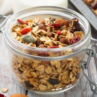 dehydrated fruit and honey granola in a bowl