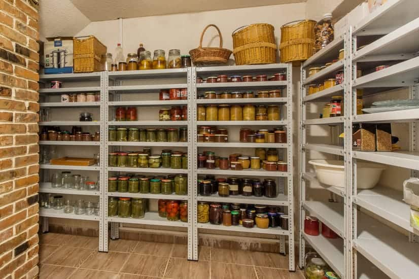 shelves of canned and dehydrated goods