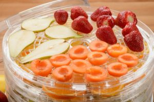 strawberries, pears and other fruit in a dehydrator