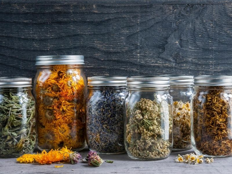 Dried herbs stored in glass jars
