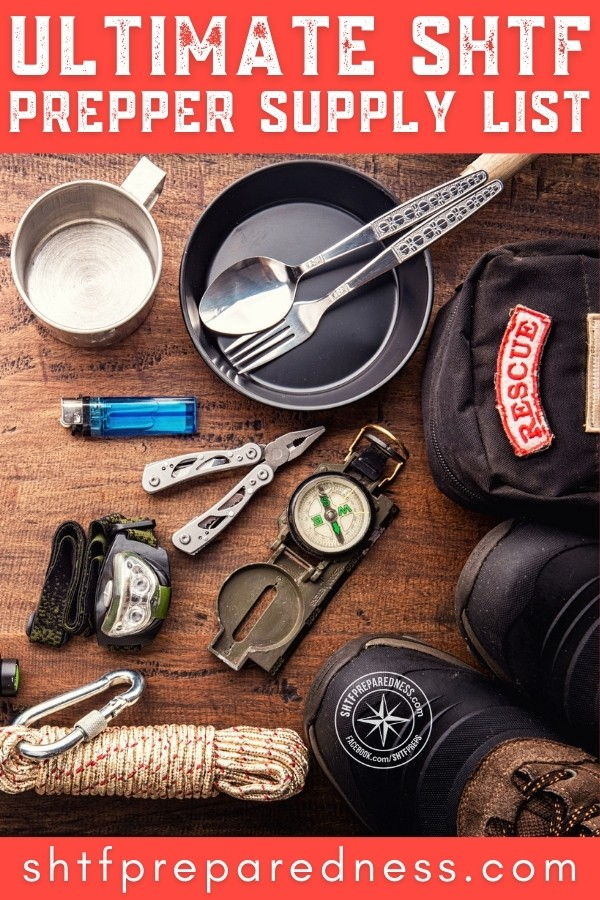 Start your SHTF prepper supply list with basic necessities. These checklist items are ESSENTIAL to your long-term shelter, food, water supply, medicine, defense, etc.