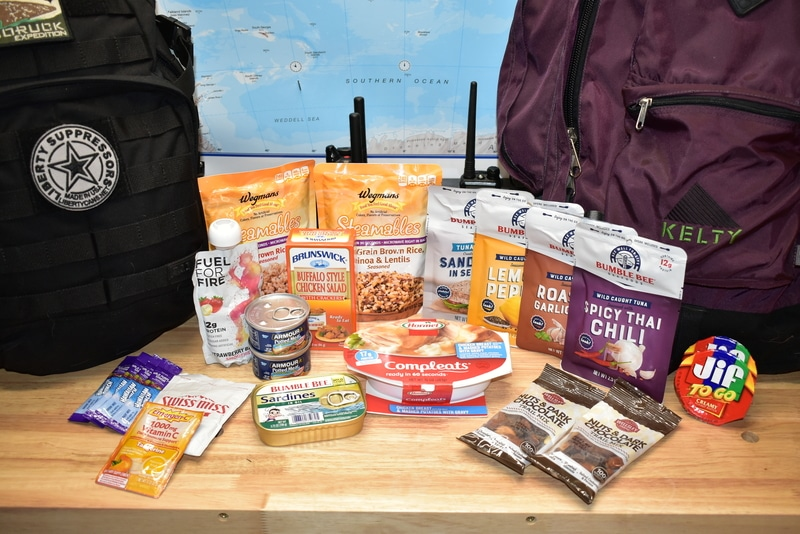 assortment of bug out bag foods