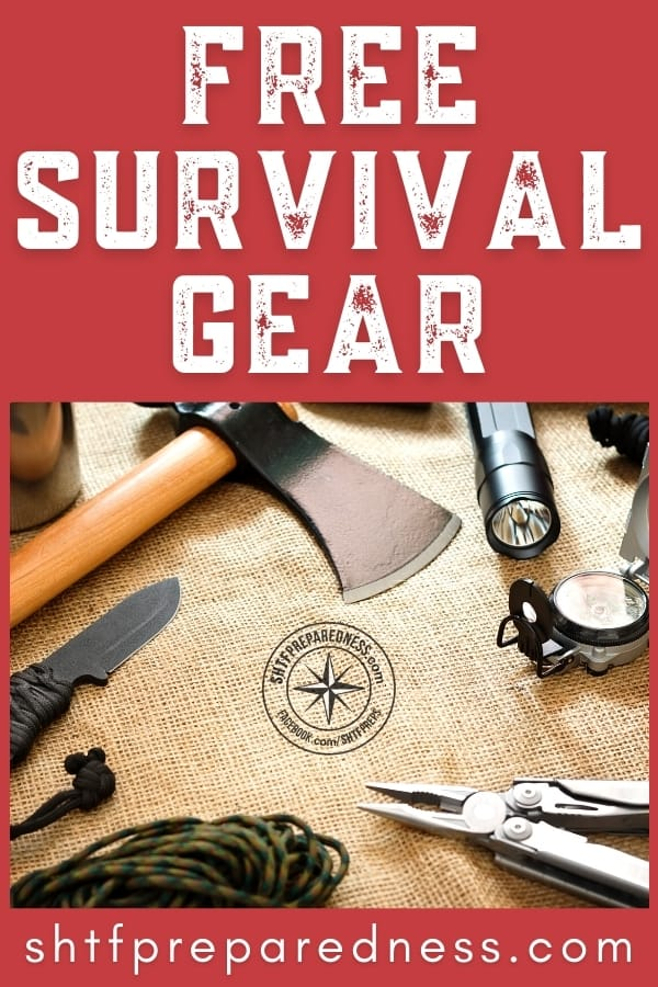 Free survival gear for beginners and advanced SHTF preppers: includes fire starters, bug out bag gear, EDC, self-defense, flashlights, and survival kits.
