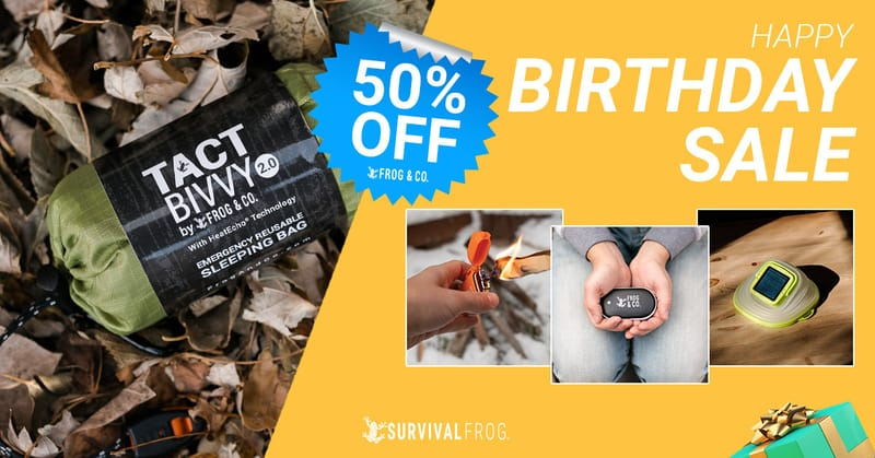 survival frog 50% off birthday sale