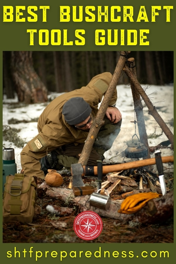 Build a bushcraft kit with these essential bushcraft tools and gear: knife, whetstone, axe, fire starter, tinder, shovel, cooking utensils, cordage, and compass.
